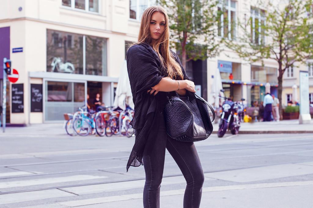 herpistolgo, annika, black outfit, alexander wang bag